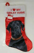 Dog Breed Pet Holiday Stocking I love my Great Dane Christmas Holiday Pet New