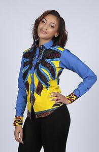 Women African Tribal Print Long Sleeve Shirt Top Blouse in Sizes UK10 - UK18