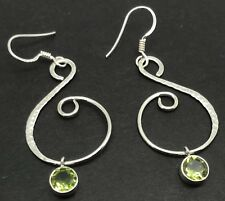 Peridot hammered Round Drop Earrings Solid Sterling Silver, New, UK seller.