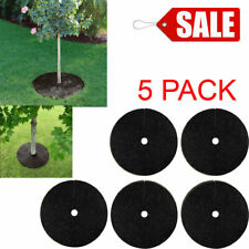 5 PACK BLACK Recycled Rubber 24-in Tree Ring Beds Landscaping Weed Grow Suppress