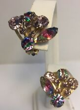 Vintage IRIS Rainbow Glass Rhinestone Clip Earrings Goldtone RARE
