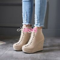 Women's Strappy High Wedge Heel Creeper Shoes Platform Lace UP Ankle Boots UK SZ