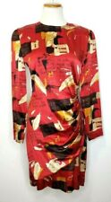 Vintage 90s Jones New York % 100Silk Red Dress with Shoulder Pads  Size 6 NEW!
