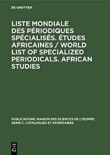 Tudes Africaines. Liste Mondiale Des P Riodiques Sp Cialis S Tudes Africaines. A