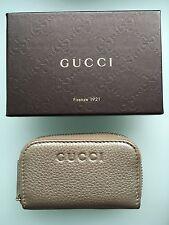 GUCCI Small Zip Around  Gold Metallic Wallet Card Case - NEW