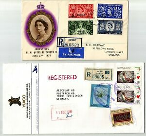 Kuwait 1953-95 cover, Coronation Registered FDC QEII 1953 sent to England + Regi
