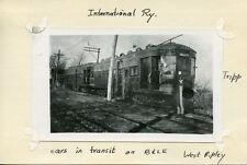 V156 NOT NOT RP 1930s? INTERNATIONAL RAILWAY CAR IN TRANSIT ON THE B&LE RR