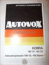 Manuale Autoradio AUTOVOX KOBRA ME 737-MX 737 Autoradiogiranastri Vintage Schema