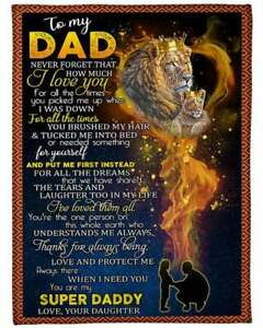 To My Dad My Super Daddy Lion from Daughter  Fleece Blanket Gift
