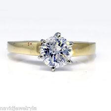 1.13 Carat Round Diamond Natural Engagement Ring 14k Yellow Gold