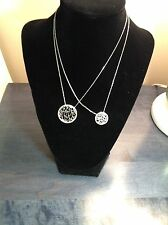 "Mother-Daughter Sterling Silver Matching ""LOVE"" in Circles  2 Necklaces MJ-10A"