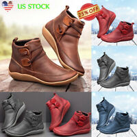 US Women Flat Leather Retro Strap Boots Casual Round Toe Ankle Bootie Shoes Size