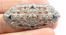"Antique 14K White Gold 45PT Diamond 30PT Sapphire Brooch 7.6 Grams 2X3/4"""