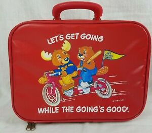 """1983 Let's Get Going While the Going's Good Red Vinyl Suitcase 13"""" x 5"""" x 9.5"""""""