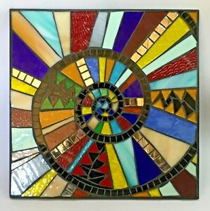 M054 Glass Mosaic Wall Art Picture 25cm x 25cm Abstract Spiral Multi Colour