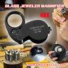 Mini 40 Fach LED Lupe Mikroskop Vergrösserung Juwelierlupe Uhrmacher Werkzeug !