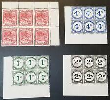 British Guiana Collection 1934 Block Stamps MINT SC #212, J1-J3, SG #290, D1-D3