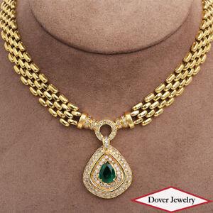 Estate Diamond 5.97ct Emerald 14K Gold Cluster Pendant Link Necklace 64.3 Gr NR