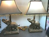 Vintage Elephant Table Lamps, Nice Detail Bronze Coloring