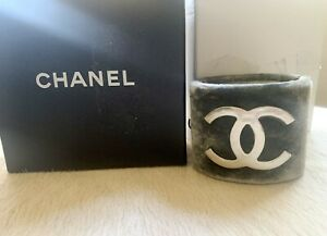 "$1550 Chanel B13 AUTH NIB Large Logo 2 1/8"" Cuff Textured Metal Crushed Velvet"