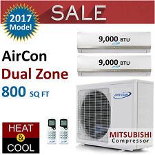 18000 BTU Dual Zone Ductless Mini Split Air Conditioner Heat Pump 9K 9K New