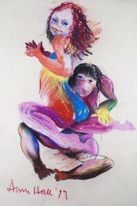 Anne Marie HALL - Dancing Lovers - original pastel signed - John Perceval's wife