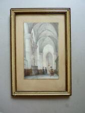 tableau, aquarelle, vue d'intérieur d'église avec des personnages du XVIIème