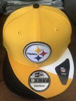 New Era Pittsburgh Steelers Snapback Hat Cap Nfl Football Yellow