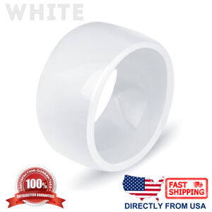 Ceramic Wedding Band Womens Mens Durable Hypoallergenic 11mm Comfort Fit Ring