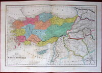 Turkey Asia Minor 1857 Delamarche engraved old hand color map