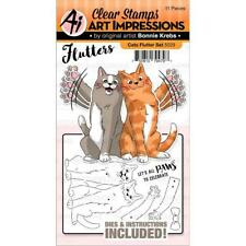 New ART IMPRESSIONS RUBBER STAMP & Dies FLUTTER set free USA ship CATS