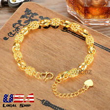 Fashion Women Girl Jewelry 24K Gold Plated Hollow Ball Chain Bracelet Adjustable