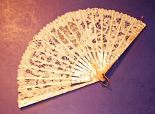Antique English Battenberg Lace Fan w/Mother of Pearl (Inv. 332)