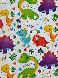 5 SHEETS OF GLOSSY BOYS / GIRLS CHILDREN'S BIRTHDAY WRAPPING PAPER (DINOSAURS)