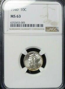 1940-P  MERCURY DIME NGC MS63