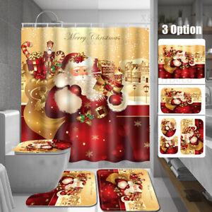 Printed Christmas Waterproof Bathroom Shower Curtain Santa Claus Decor Xmas US