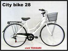 bicicletta donna bici da passeggio city bike per trekking 28 colore bianco 6v