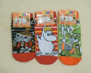 Three Pairs Women's New Japan Moomin Characters Cotton Ankle Socks One Size