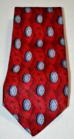 ROBERT TALBOTT FORDS Red Blue Silver Gray Oval Diamond 100% Silk Neck Tie USA