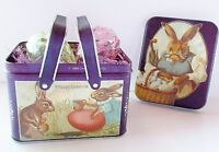 Easter Basket Tin Picnic Style Handle Vintage 1984 Bunny Decor Chein Ind. 6""