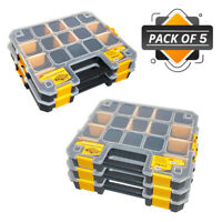 WrightFits Essential Tool Organiser Box - Stackable Storage Case 300 - Pack of 5
