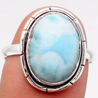 Larimar (Dominican Republic) 925 Sterling Silver Ring s.9 Jewelry 4321
