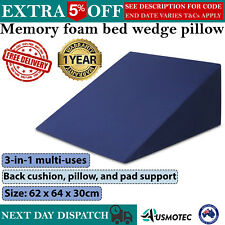 Memory Foam Bed WEDGE PILLOW Washable Cover Cushion Back Neck Sleep Support Home