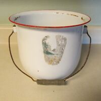 VINTAGE ENAMEL WARE BUCKET CHAMBER POT WITH WOODEN HANDLE WHITE & RED!