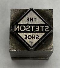 Vintage Letterpress Printers Block The Stetson Shoe Zinc Plate Solid Metal
