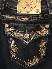 MISS ME Crystal Rhinestone Embellished Pocket Easy Fit Straight Jeans 26 X 31