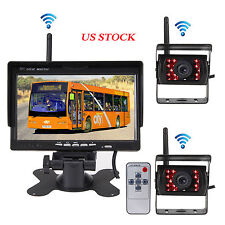 "7"" Monitor For RV Truck + 2 x Wireless IR Night Vision Rear Backup Camera System"