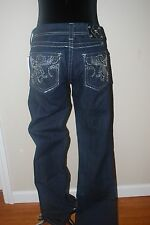 MISS ME JEANS FLOWER RHINESTONE BLING POCKETS BOOT CUT Dark Wash NEW Size 29