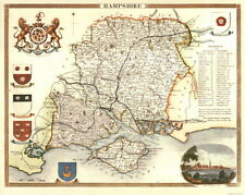 Map of Hampshire, 19th Century Reproduction Hampshire Map, Thomas Moule Map