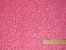 Pink Leopard Skin Animal Fleece Fabric  by the Yard
